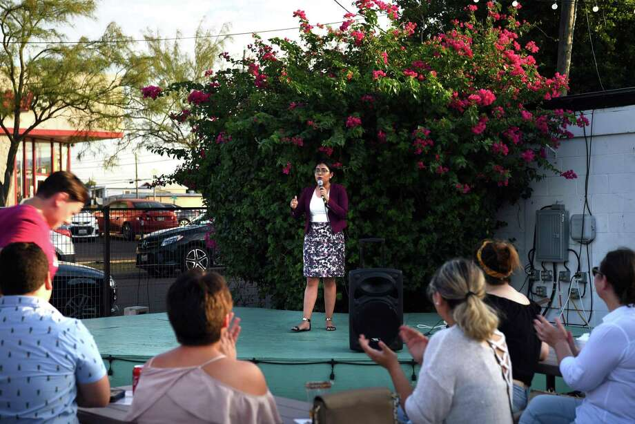 Jessica Cisneros, a 26-year-old immigration attorney, speaks to citizens of Laredo during her first public event at Frontera Beer Garden, Thursday, June 20, 2019. Photo: Christian Alejandro Ocampo / Laredo Morning Times