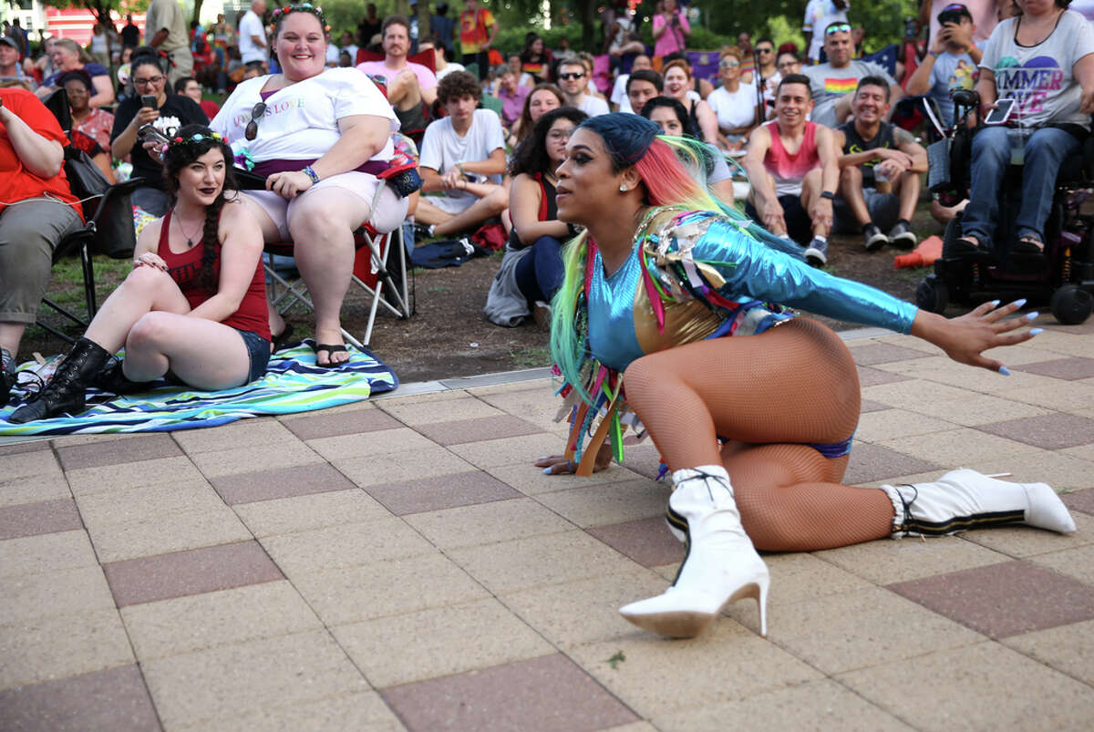 Leilani Jackson Ross performs as part of Yahaira DeHill's Eco-Fashion Showcase at the 10th Annual Rainbow on the Green at Discovery Green Conservancy in Houston, Friday, June 21, 2019.