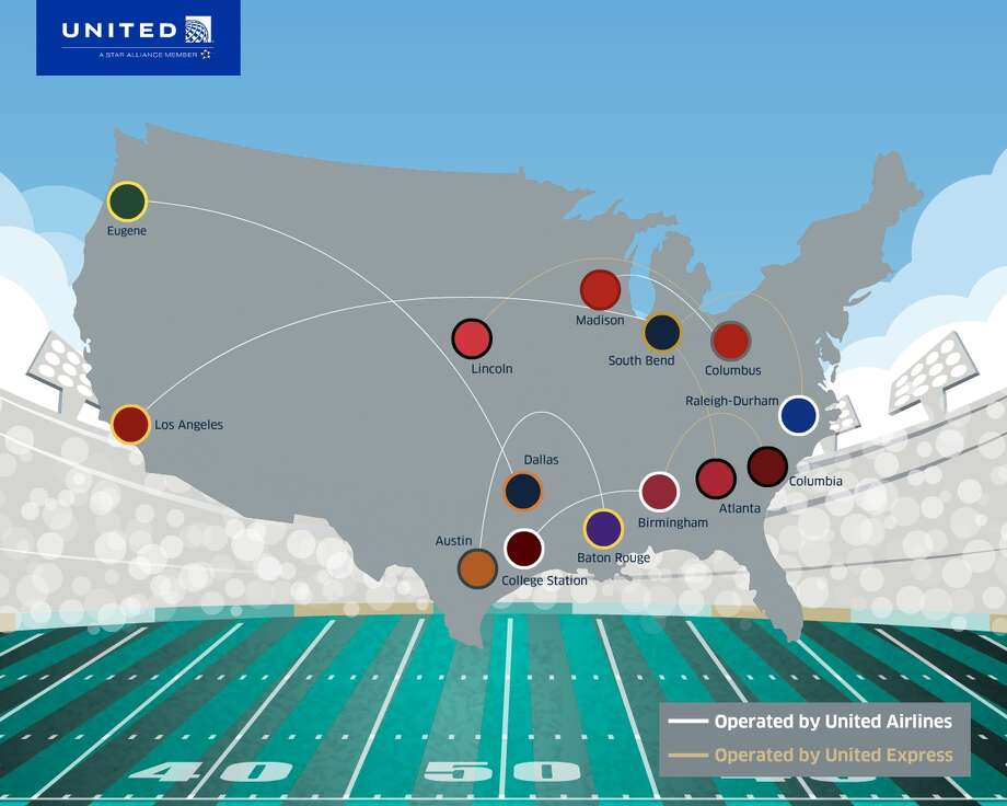 United has added some interesting city pairs to get football fans to games this fall Photo: United Airlines