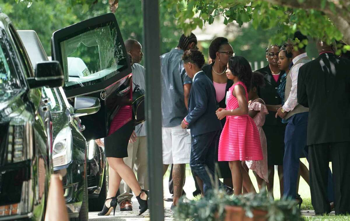 Mourners leave after the funeral service for 4-year-old Maleah Davis at the Crossing Community Church, 3225 W Orem Dr., Saturday, June 22, 2019, in Houston. Derion Vence, the former fiance, of her mother, Brittany Bowens, is charged in connection with her death. Maleah was reported missing May 4 in what Vence first said was an abduction. Maleah's remains were found May 30 in Arkansas.