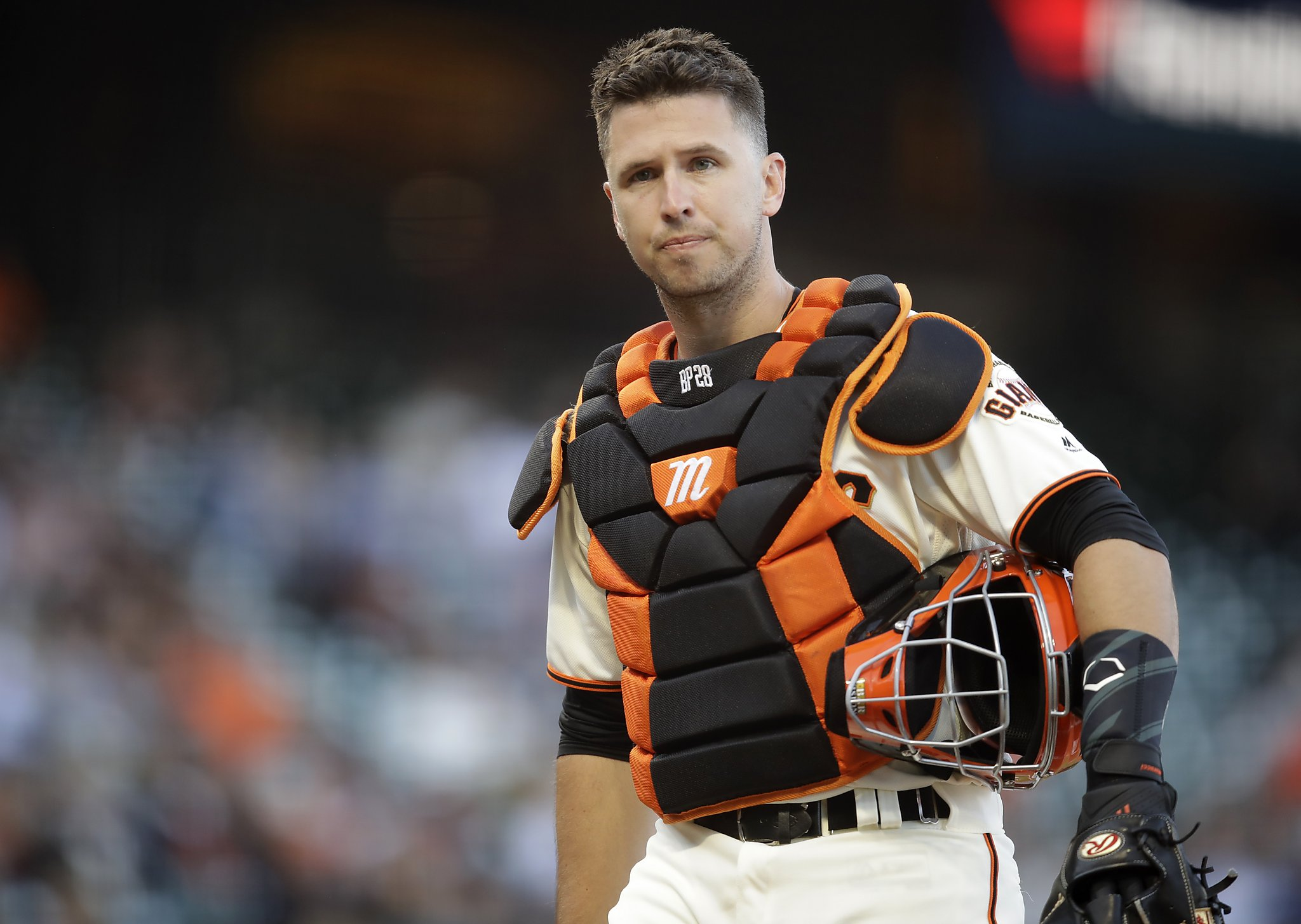 San Francisco Giants catcher Buster Posey without mask.