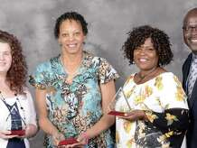 West Orange-Cove CCISD District Employees of the Year: Kathryn Knobloch, Phyllis Thibodeaux, and Ella Barlow pictured with superintendent Rickie Harris.