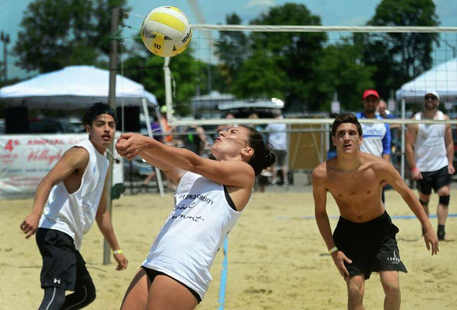 Edoni Jakaj and her team, The Rug Rats, compete in the 4th Annual Charity Volleyball Tournament Saturday, June 22, 2019, at Calf Pasture Beach in Norwalk, Conn. Proceeds from this year's event go to benefit Room to Grow Preschool in Norwalk. Photo: Erik Trautmann / Hearst Connecticut Media / Norwalk Hour