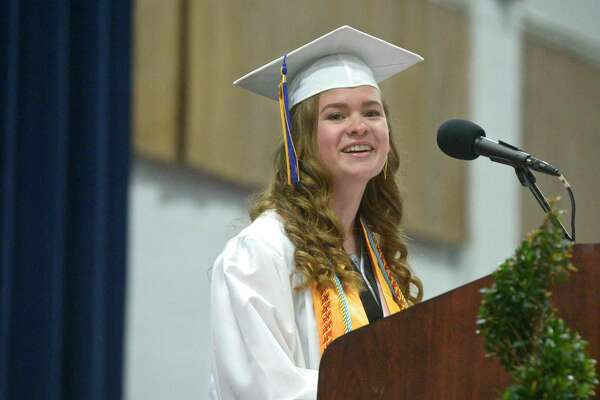 Amelia Moschitta thanks her parents during her honor essay at the New Milford High School Class of 2019 Commencement, Saturday, June 22, 2019, at the O'Neill Center, Western Connecticut State University, Danbury, Conn.