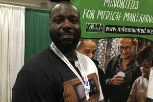 Derrell Black, president of the Massachusetts chapter of the Florida-based Minorities for Medical Marijuana, in Springfield, Mass., on Saturday.