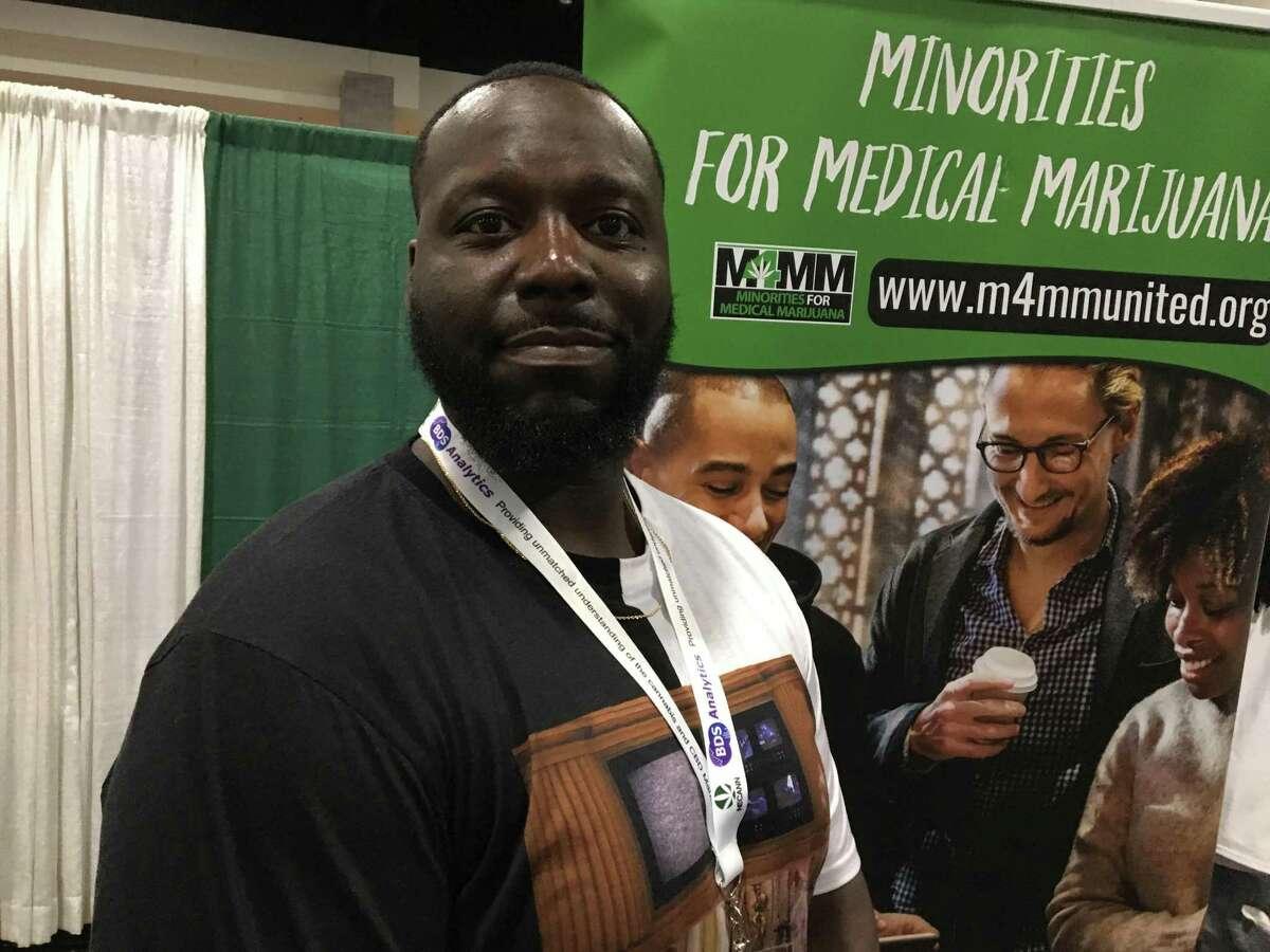 Derrell Black, president of the Massachusetts chapter of the Florida-based Minorities for Medical Marijuana, in Springfield, Mass., on Saturday.