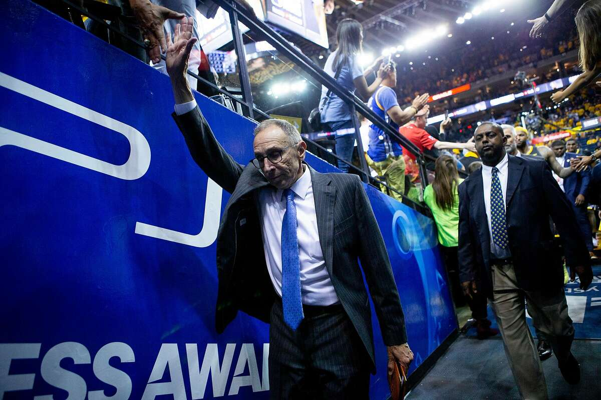 Golden State Warriors assistant coach Ron Adams exits following Game 6 of the NBA Finals at Oracle Arena on Thursday, June 13, 2019, in Oakland, Calif. The Toronto Raptors won the game 114-110 and won the NBA Finals with a 4-2 series.