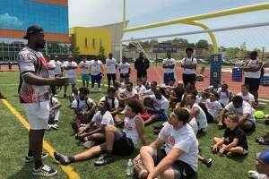 Day one of a two-day football camp at Harding High School on Bond Street in Bridgeport, Conn.
