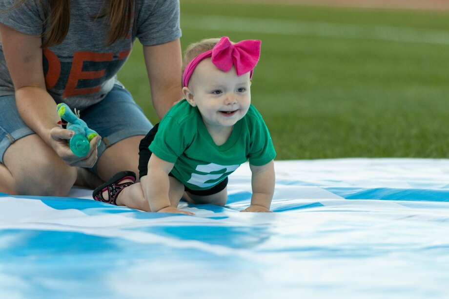"""Baby Races"" were one of the promotions as the Great Lakes Loons took on the Fort Wayne TinCaps on Saturday at Dow Diamond. Photo: Alex Seder/Great Lakes Loons"