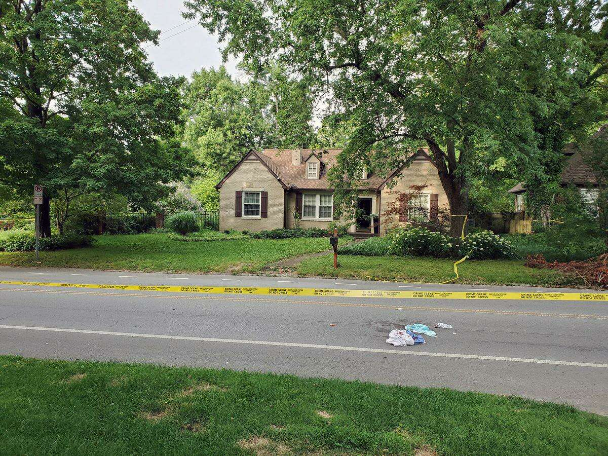 A photo of the crime scene on Cherokee Road in Nashville, Tenn. A Kent, Conn., man is accused of killing a man and critically injuring the man's wife in a stabbing attack at the home on Friday, June 21, 2019.