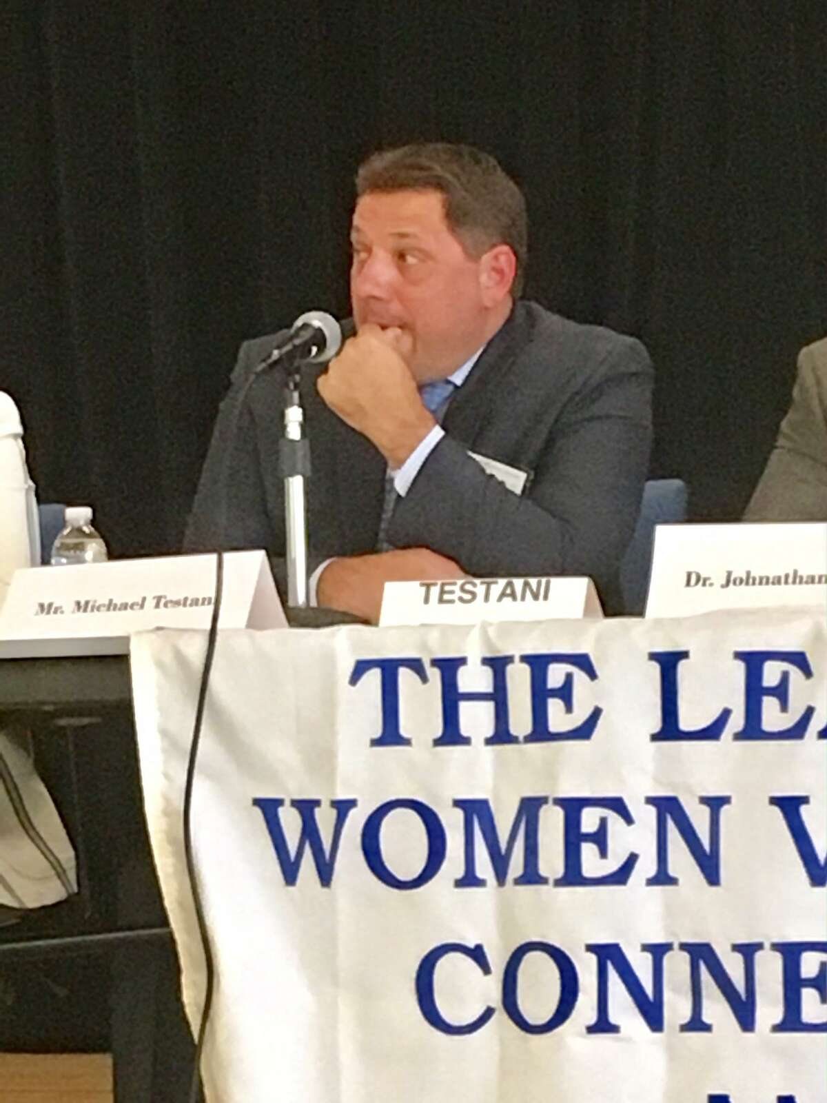 Michael Testani, a candidate for Interim Superintendent in Bridgeport answers a question at a League of Women Voters forum held at Claytor School. June 22, 2019