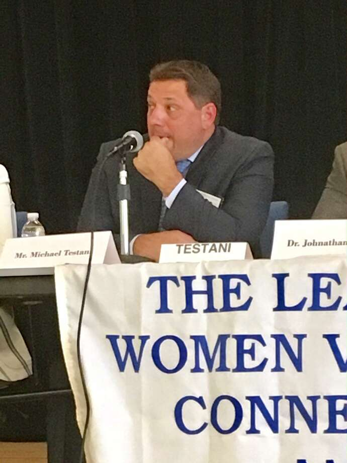 Michael Testani, a candidate for Interim Superintendent in Bridgeport answers a question at a League of Women Voters forum held at Claytor School. June 22, 2019 Photo: Linda Conner Lambeck