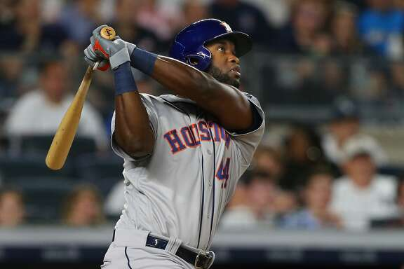 NEW YORK, NY - JUNE 22: Yordan Alvarez #44 of the Houston Astros hits a three run home run against the New York Yankees during the seventh inning of a baseball game at Yankee Stadium on June 22, 2019 in the Bronx borough of New York City. (Photo by Rich Schultz/Getty Images)