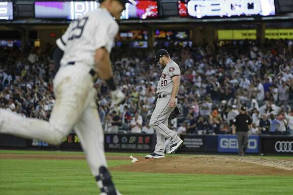 Wade Miley, right, sees his bid for a no-hitter come to an abrupt end in the fifth inning when the Yankees' Gio Urshela slugs a two-run homer to right field Saturday night.