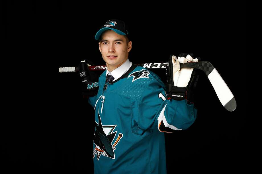 Artemi Kniazev poses after being selected 48th overall by the San Jose Sharks in the 2019 NHL draft on Saturday, June 22 in Vancouver, Canada. Photo: Kevin Light / Getty Images