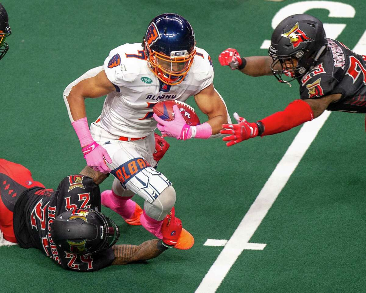 Albany Empire wide receiver Malachi Jones heads up the field after making a catch against the Atlantic City Blackjacks at Times Union Center in an Arena Football League game in 2019. He's back with the Empire, who are now in the National Arena League.