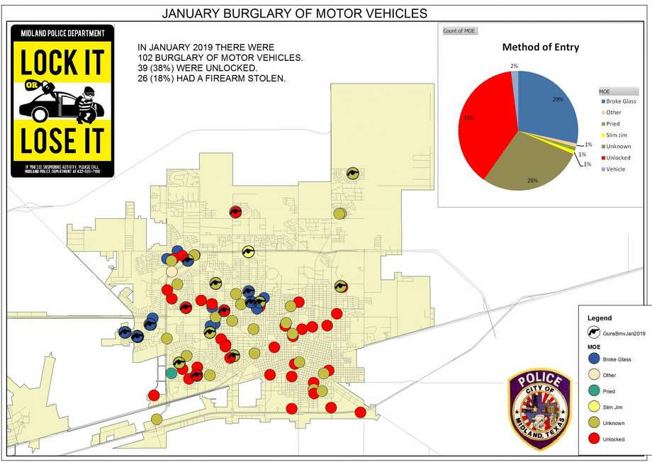 January Burglaries of motor vehicles: 102 Firearms stolen: 26 Unlocked  vehicles: 39 (38 percent)