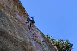 The Beaver Street Wall in Corona Heights Park is one of the few places to go rock-climbing in a natural setting in San Francisco. It's not unusual to see climbers outfitted with ropes scaling this glassy slab.