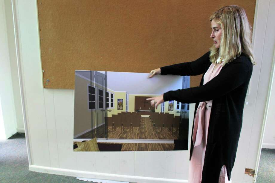 Malta House Executive Director Carey Doughtery shows off a rendering for a renovated chapel at Malta House's newly approved location on West Rocks Road on Thursday, June 20, 2019. Photo: Kelly Kultys / Hearst Connecticut Media