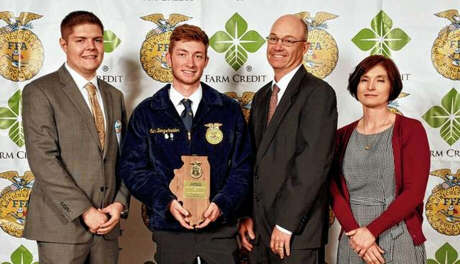 Franklin FFA chapter members recently attended the 91st annual Illinois State FFA Convention, during which Luke Bergschneider (second from left) was named poultry production state proficiency winner. For his supervised agricultural experience, Bergschneider raises 130 laying hens, 100 meat birds and 30 turkeys on pasture. Luke typically direct-markets the products to local community members and businesses. He is the son of Paul and Janie Bergschneider of Franklin. Brent Nelson is the Franklin FFA chapter adviser. Photo: Photo Provided