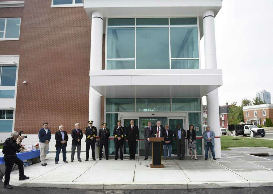 Stamford Mayor David Martin speaks at the ribbon-cutting at the new Stamford Police headquarters in Stamford, Conn. Tuesday, May 7, 2019. The new 94,000 sq. ft. station sits on the corner of Bedford Street and North Street just south of the current police headquarters, which will be demolished after the move-in is complete. Photo: Tyler Sizemore / Hearst Connecticut Media / Greenwich Time