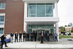 Stamford Mayor David Martin speaks at the ribbon-cutting at the new Stamford Police headquarters in Stamford, Conn. Tuesday, May 7, 2019. The new 94,000 sq. ft. station sits on the corner of Bedford Street and North Street just south of the current police headquarters, which will be demolished after the move-in is complete.
