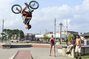 Justin Sumrall does a backflip on his bike after the Fourth Annual Skatefest in Beaumont's skatepark Saturday afternoon. Roughly 40 people showed up to the event. Photo taken on Saturday, 06/22/19. Ryan Welch/The Enterprise
