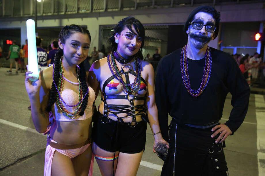People pose for photos at the 2019 Houston Pride Parade in Downton Houston, Saturday, June 22, 2019. Photo: Juan Figueroa, Staff Photographer / © 2019 Juan Figueroa / Houston Chronicle
