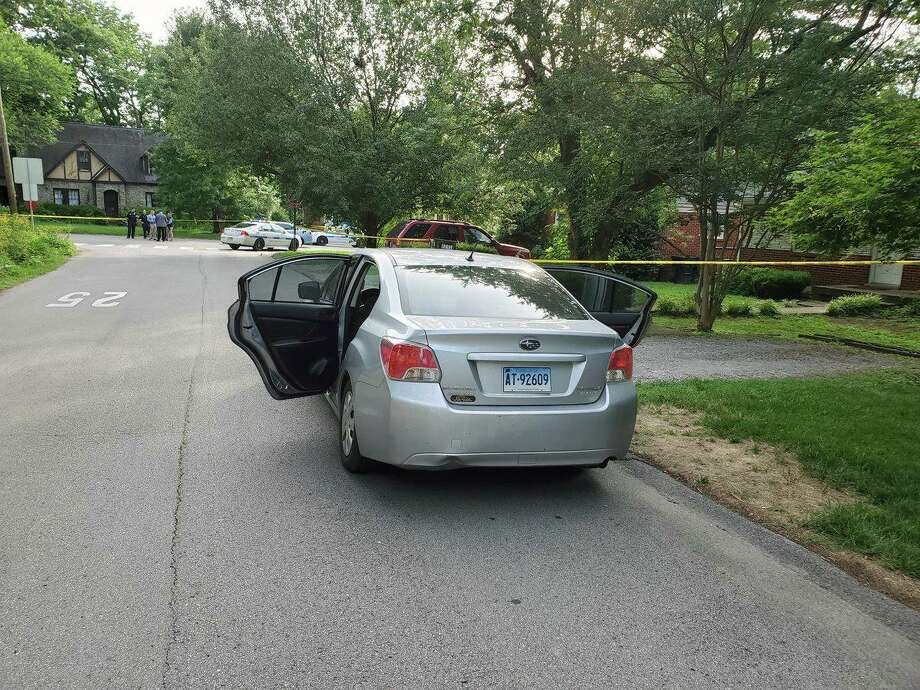 A photo from the crime scene of a stabbing attack on Cherokee Road in Nashville, Tenn., on Friday, June 21, 2019, that shows a vehicle with Connecticut plates that police said belongs to the suspect. Police have obtained an arrest warrant, charging Kent resident Peter Alexander Bohning, 34, with murder and attempted murder. Photo: Contributed Photo / Metropolitan Nashville Police Department