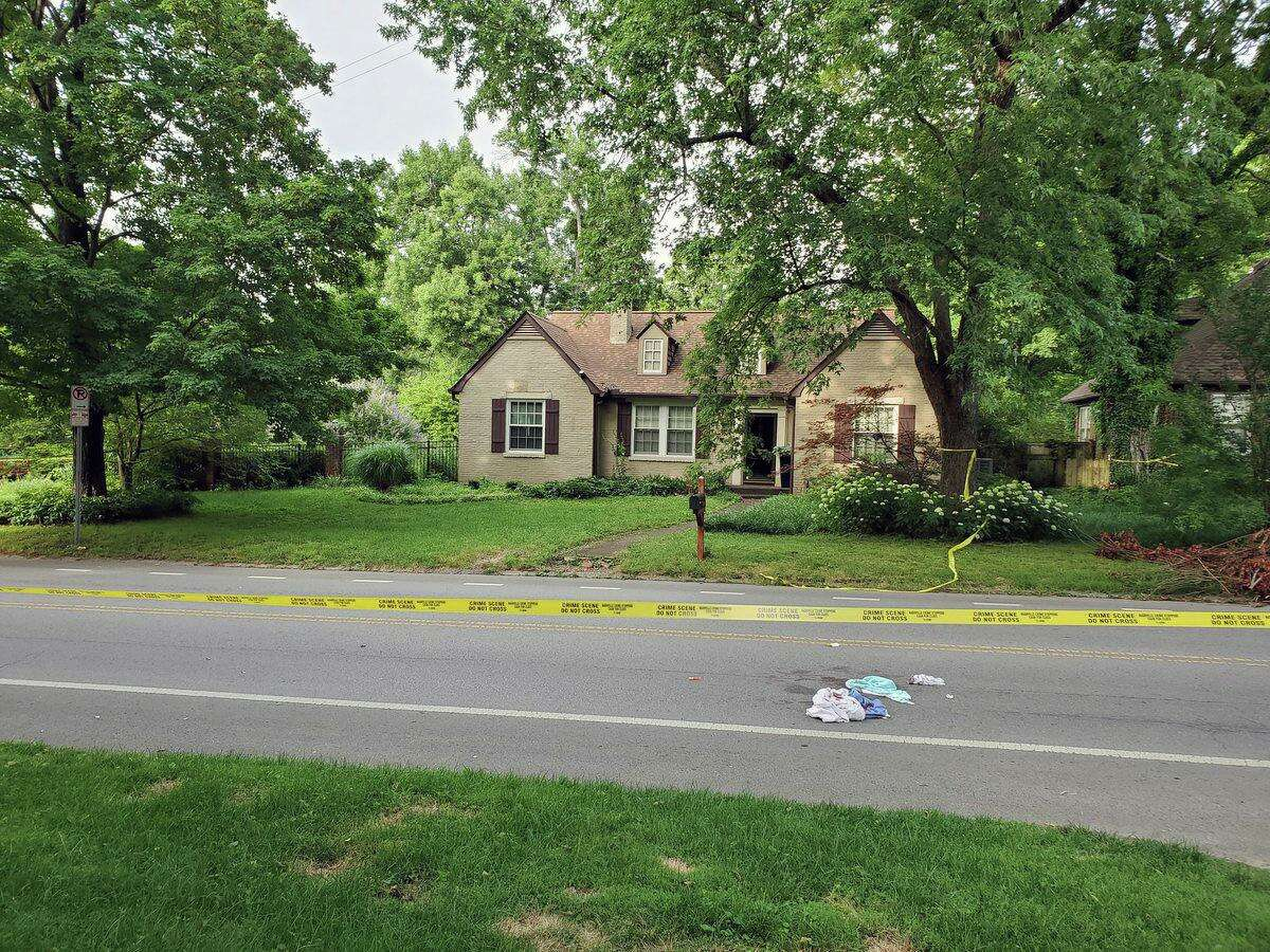 A photo from the crime scene of a stabbing attack on Cherokee Road in Nashville, Tenn., on Friday, June 21, 2019.Police have obtained an arrestwarrant, chargingKent resident Peter Alexander Bohning, 34, with murder and attempted murder.