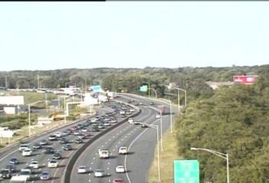 Traffic on Interstate 95 southbound between exits 34 and 30 in Stratford was congested on Sunday, June 23, 2019, following a two-car accident. Photo: Contributed / Department Of Transportation