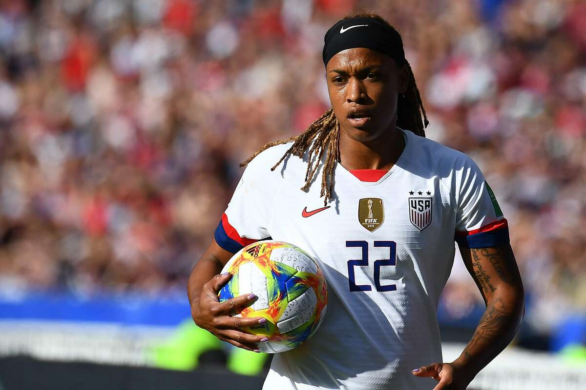 United States' forward Jessica McDonald holds the ball during the France 2019 Women's World Cup Group F football match between USA and Chile, on June 16, 2019, at the Parc des Princes stadium in Paris. (Photo by FRANCK FIFE / AFP)FRANCK FIFE/AFP/Getty Images