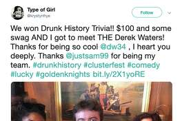 """Actor Derek Waters poses with the winners of the """"Drunk History"""" pub quiz at Clusterfest on June 23, 2019."""