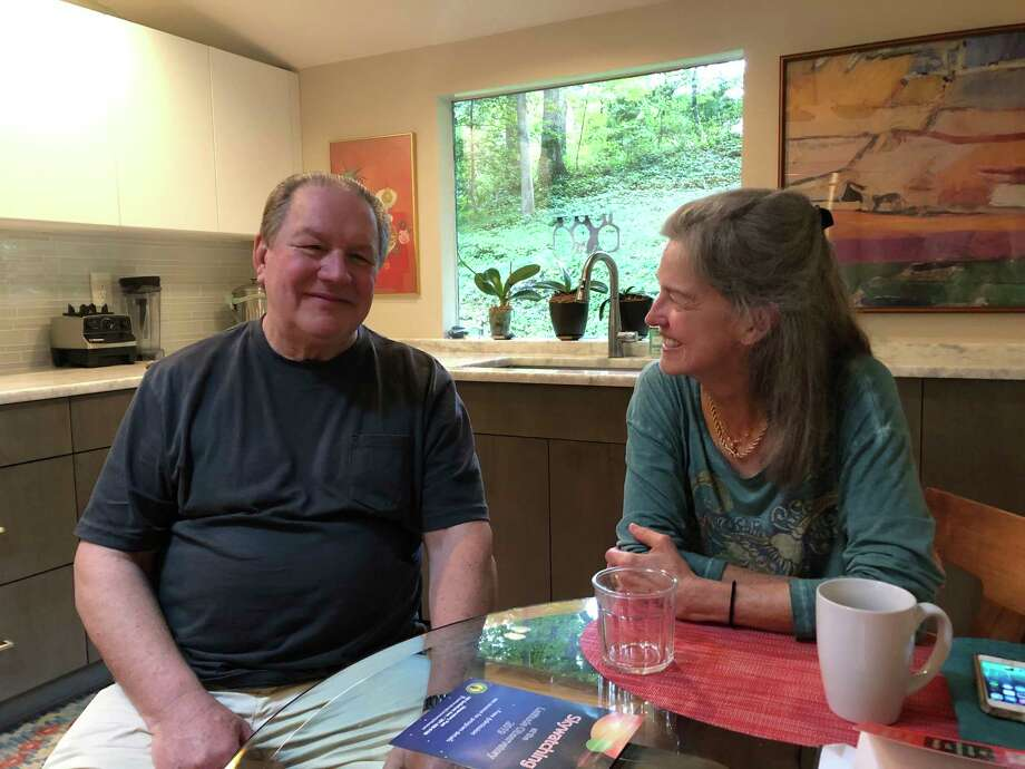 Bill and Gabrielle have lived in their Bethesda, Maryland, home for 20 years. The couple say they might not have bought the house all those years ago had they known they would face so much helicopter noise now. Photo: Washington Post Photo By Hannah Natanson. / The Washington Post