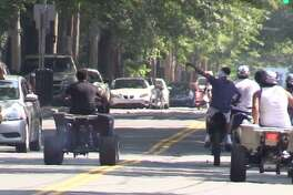 A group of quad riders in Newhallville last summer intimidate drivers by forcing them to pull to the side of the road.