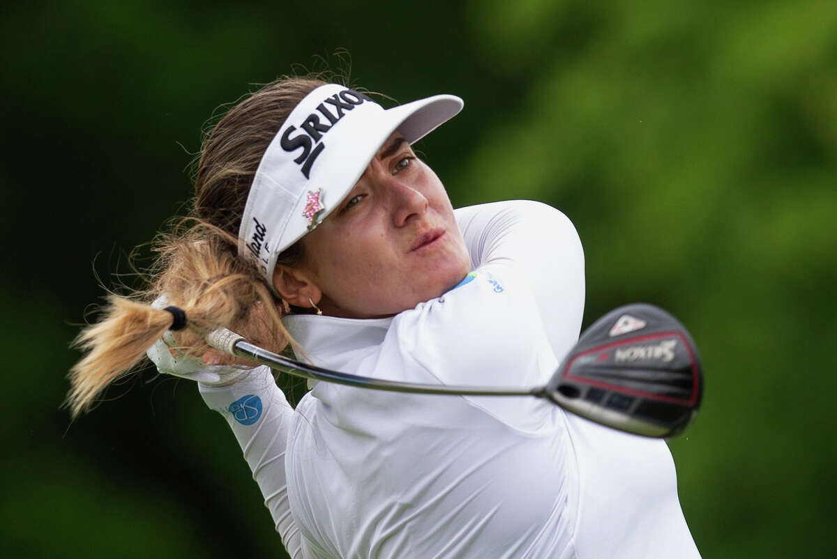 Hannah Green, of Australia, hits a drive on the 10th hole during the final round of the KPMG Women's PGA Championship golf tournament, Sunday, June 23, 2019, in Chaska, Minn. (AP Photo/Andy Clayton-King)
