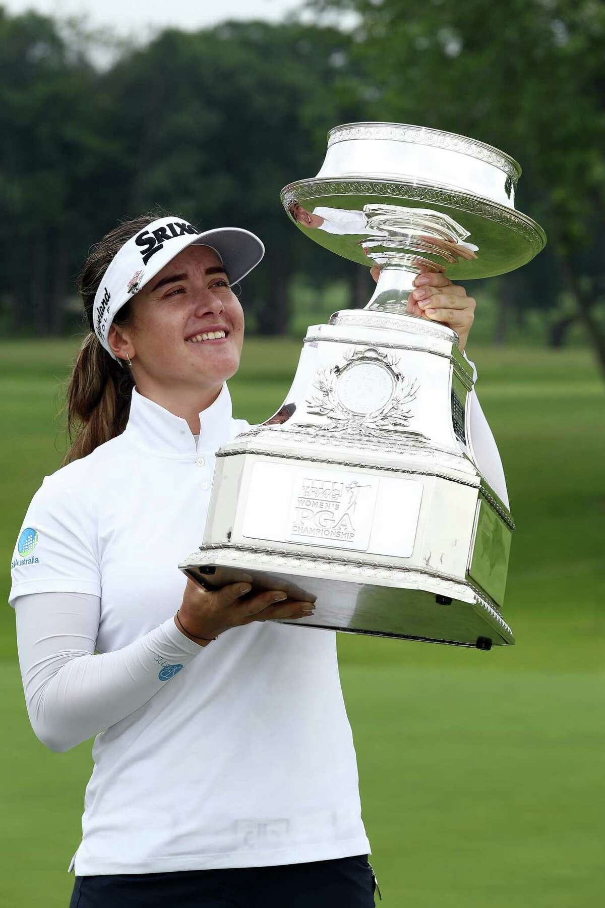 CHASKA, MINNESOTA - JUNE 23: Hannah Green of Australia poses with the trophy after winning the KPMG Women's PGA Championship at Hazeltine National Golf Course on June 23, 2019 in Chaska, Minnesota. (Photo by Jamie Squire/Getty Images)