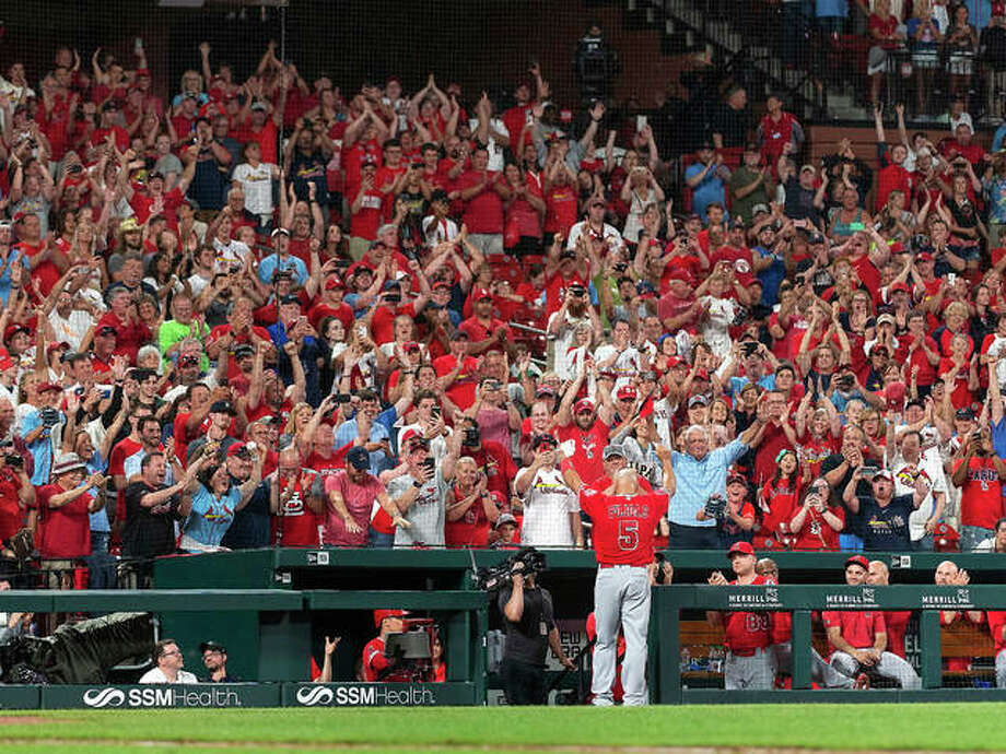 Albert Pujols of the Angels waves to the St. Louis crowd for a curtain call after his last at-bat of the night in the ninth inning Sunday night's game against his former team, the St. Louis Cardinals, at Busch stadium. Photo: L.G. Patterson | AP Photo