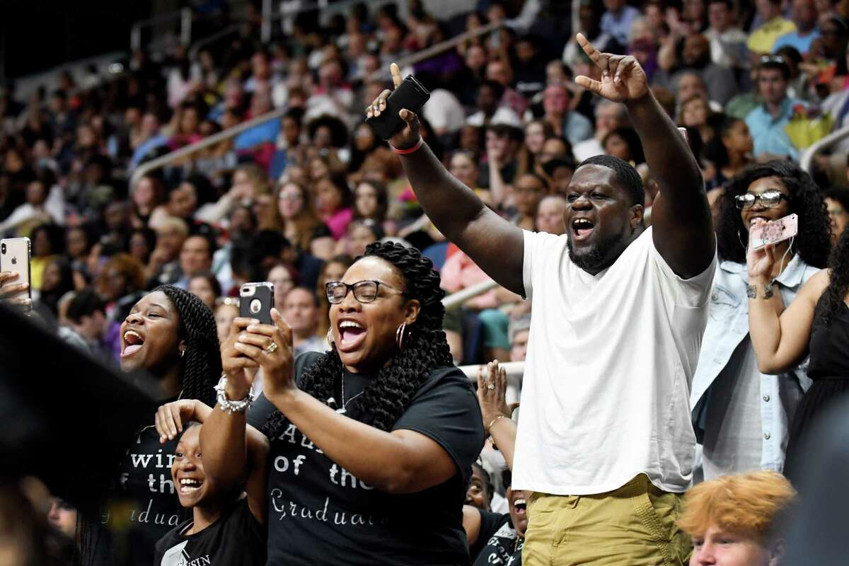 Families reacts to students receiving their diplomas at the 149th commencement of Albany High School on Sunday, June 23, 2019, at the Times Union Center in Albany, N.Y. (Catherine Rafferty/Times Union)