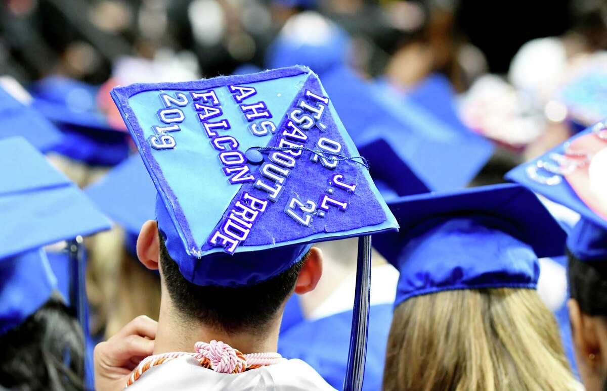 An Albany High School graduateOs mortar board during the 149th commencement on Sunday, June 23, 2019, at the Times Union Center in Albany, N.Y. (Catherine Rafferty/Times Union)