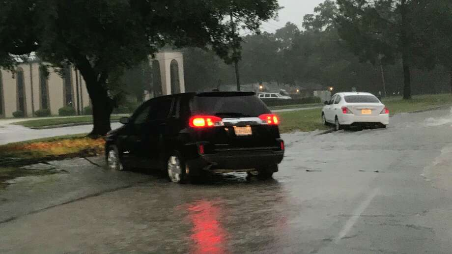 Houston resident Ian Shelton spotted cars stopped in nearly 3 inches of rain at W TC Jester and 610 North Loop on Monday morning.