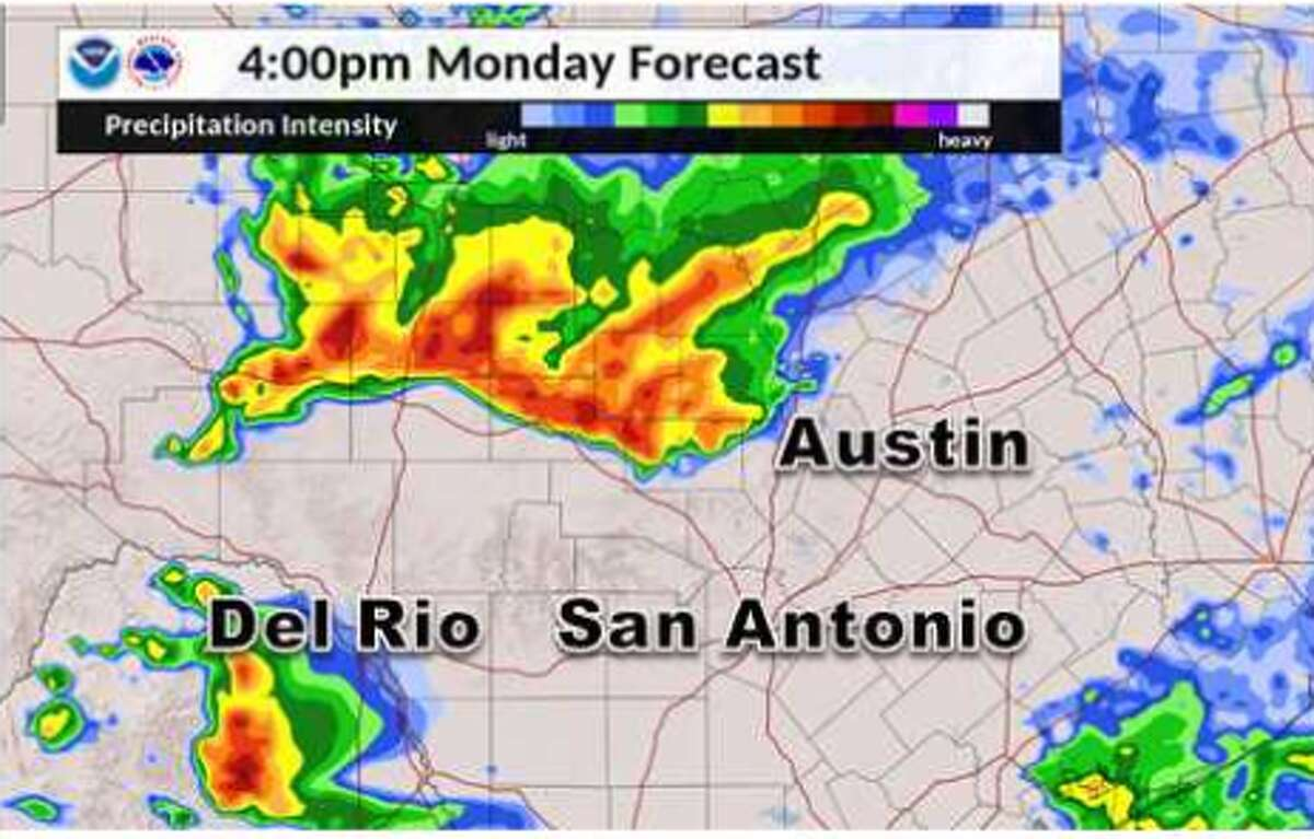 Two rounds of storms are expected on Monday in San Antonio, according to the National Weather Service.