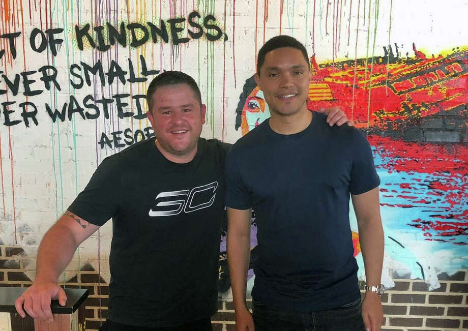 PHOTOS: Trevor Noah at Peli Peli Kitchen Pictured: Trevor Noah with Ryan Stewart, culinary director of Peli Peli Hospitality Group.