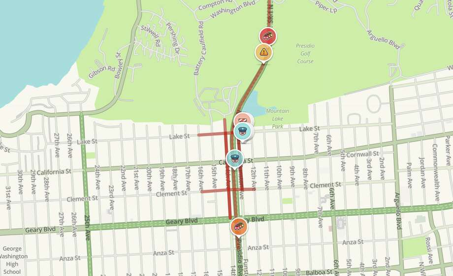 A fatal collision early Monday morning led to closure of Park Presidio at California Street. Photo: Waze Screen Capture