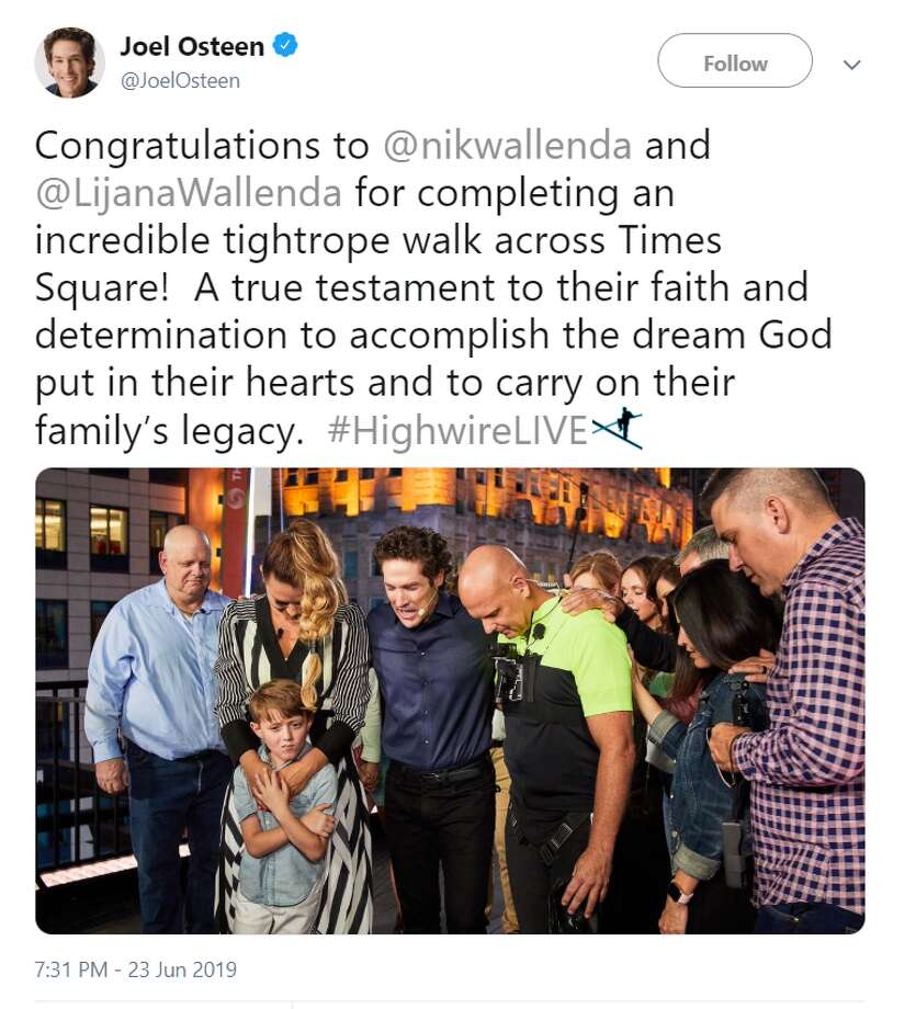 Congratulations to @nikwallenda and @LijanaWallenda for completing an incredible tightrope walk across Times Square!  A true testament to their faith and determination to accomplish the dream God put in their hearts and to carry on their family's legacy.  #HighwireLIVE