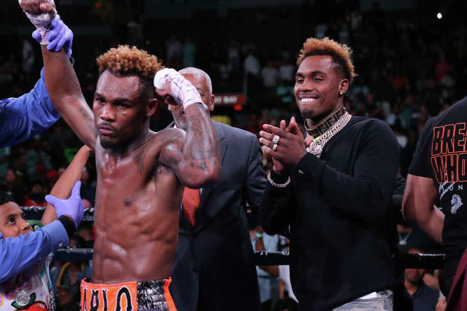 PHOTOS: Alief's boxing twins together Jermall Charlo (right) cheers on his brother Jermell after Jermell knocked out Jorge Cota on Sunday, June 23, 2019 at Mandalay Bay Events Center in Las Vegas. Photo: Leo Wilson, Haymon Boxing