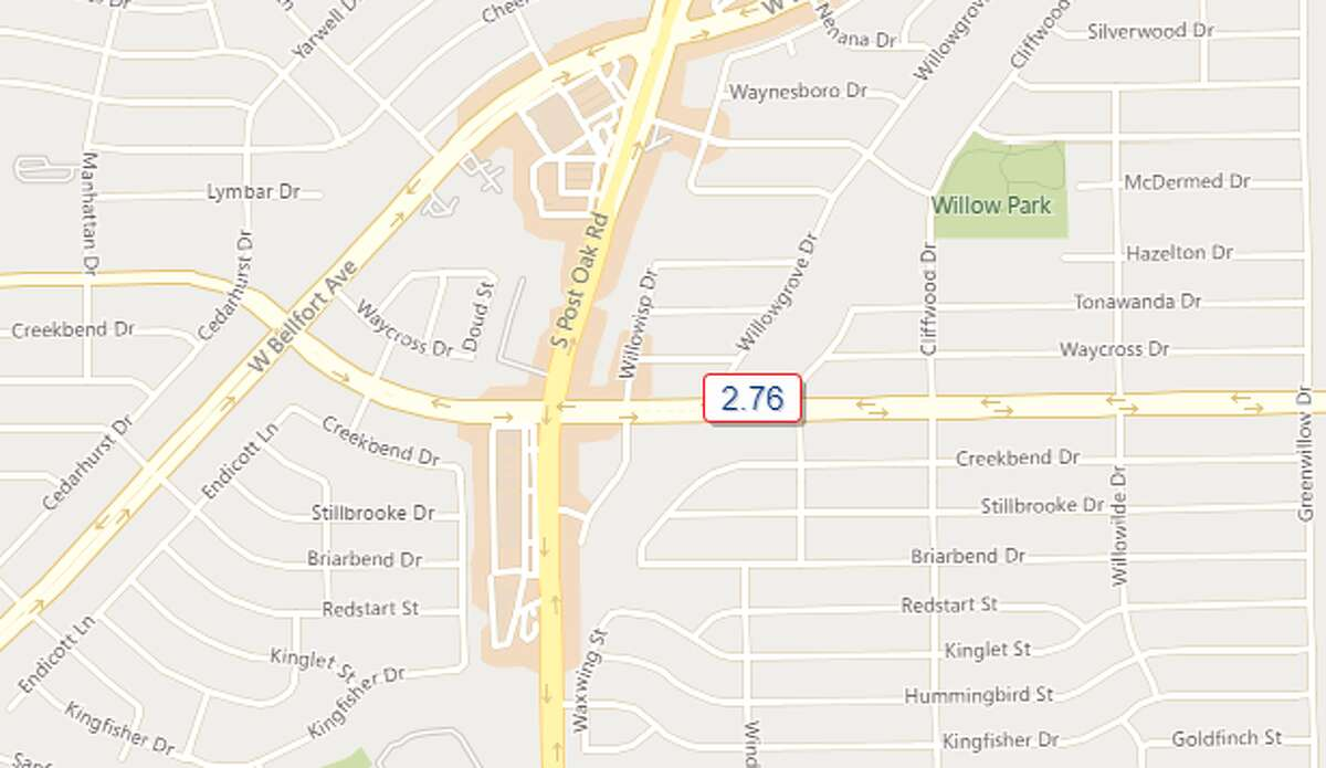 Willowbend and South Post Oak - Southwest Houston 2.76 inches