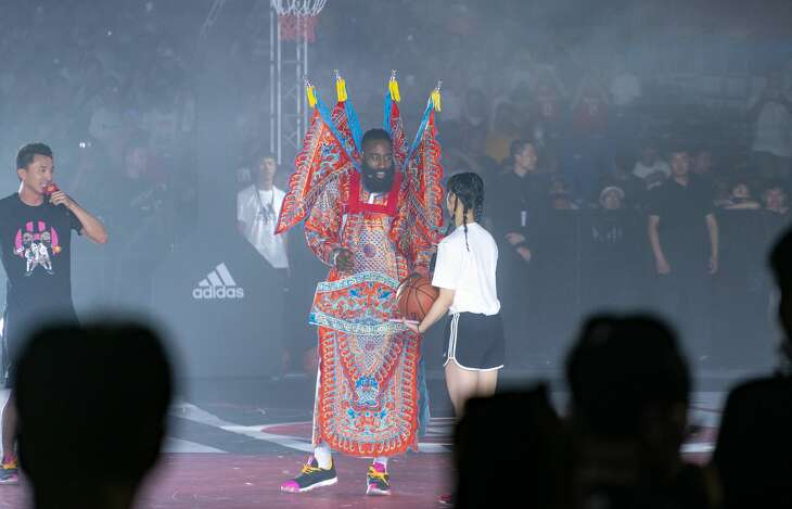 BEIJING, CHINA - JUNE 22: James Harden of the Houston Rockets meets fans at Beijing University of Technology on June 22, 2019 in Beijing, China. (Photo by An Likun/VCG via Getty Images)