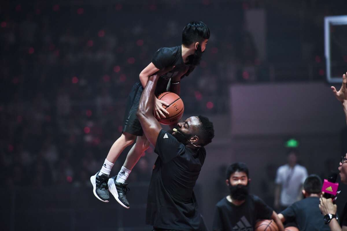 GUANGZHOU, CHINA - JUNE 23: James Harden of the Houston Rockets meets fans at Tianhe Sports Center during his adidas sponsored tour in China on June 23, 2019 in Guangzhou, Guangdong Province of China. (Photo by VCG/VCG via Getty Images)