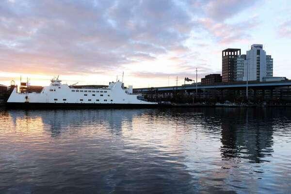 The Bridgeport-Port Jefferson ferry leaves Bridgeport Harbor.